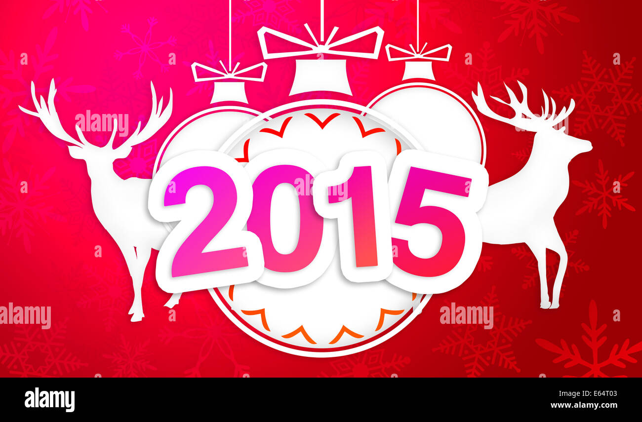 Paper Art 2015 Ornament Decorative Red Background - Stock Image