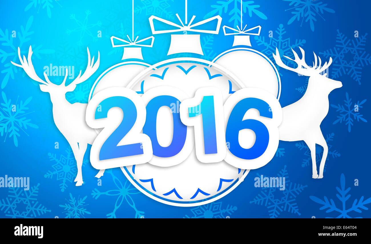 Paper Art 2016 Ornament Decorative Blue Background - Stock Image
