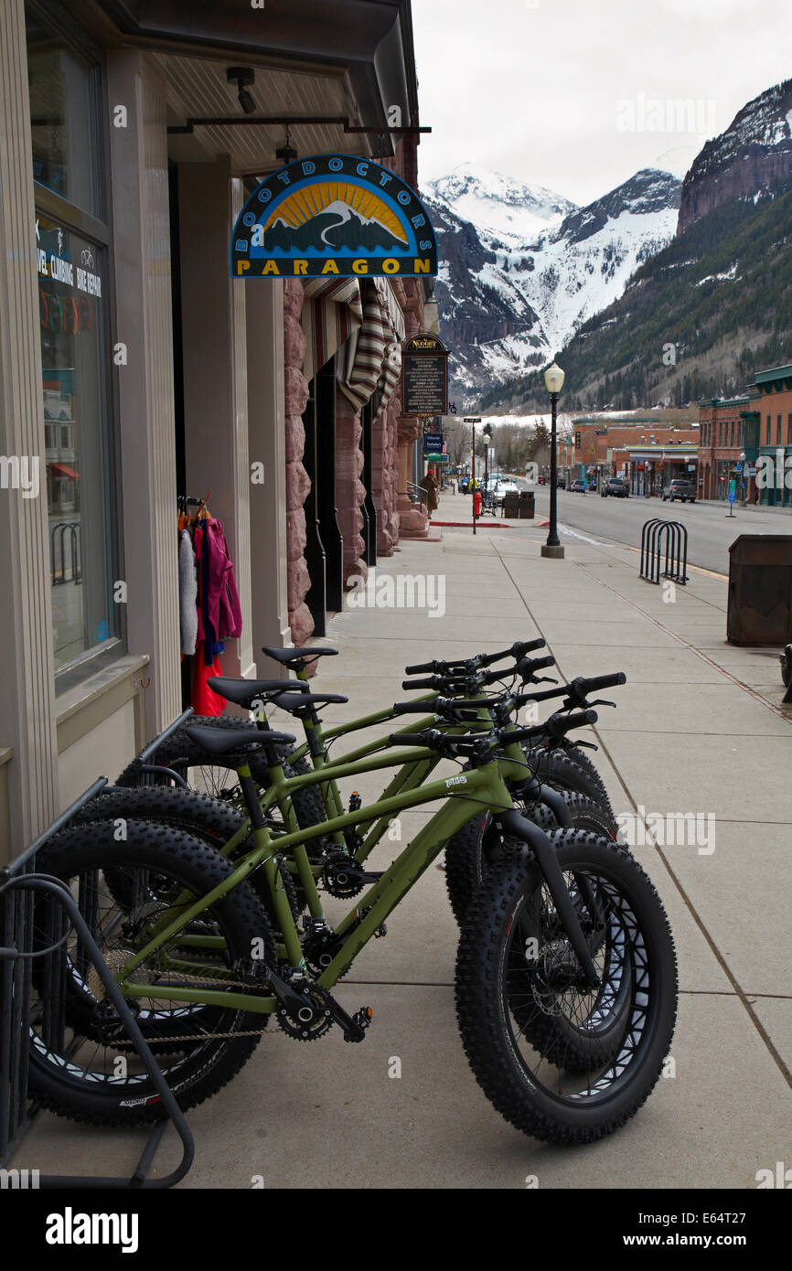 Fat tire hire cycles, Telluride, historic mining town and ski resort, San Juan Mountains, San Miguel County, Colorado, - Stock Image