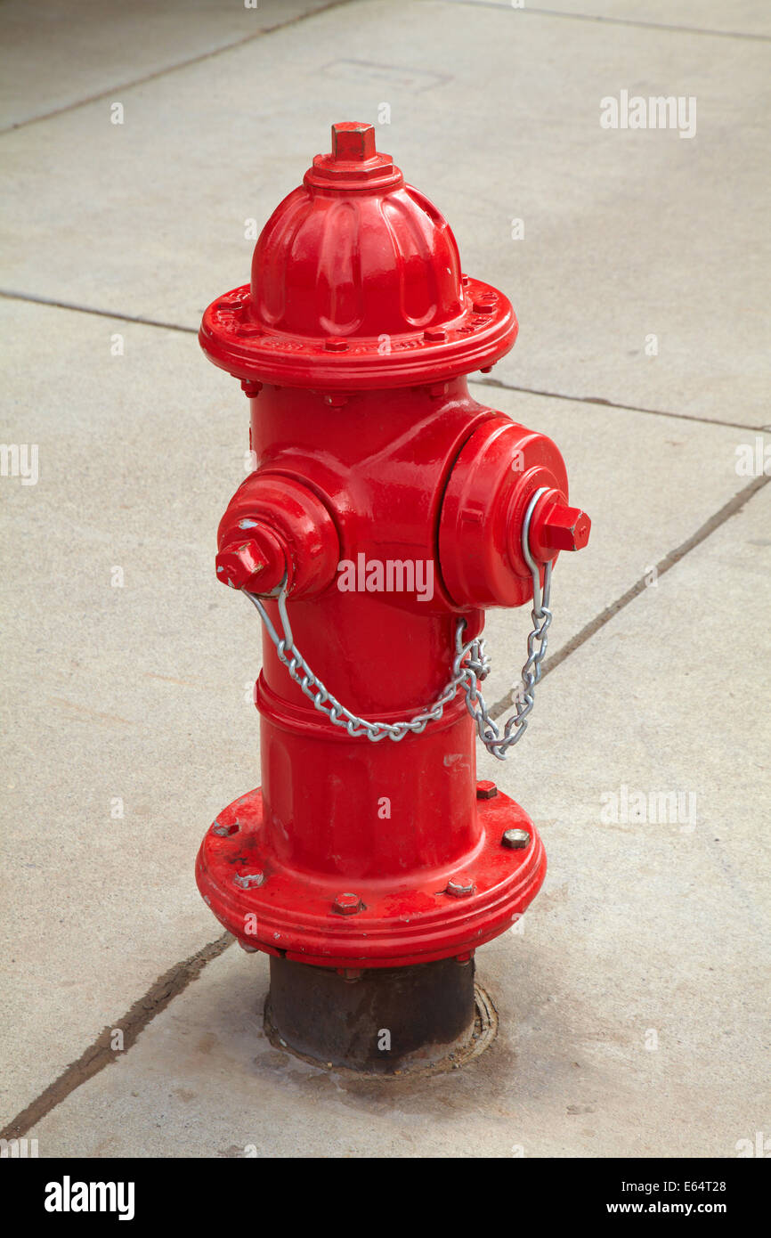 Red fire hydrant at Telluride, San Juan Mountains, San Miguel County, Colorado, USA - Stock Image
