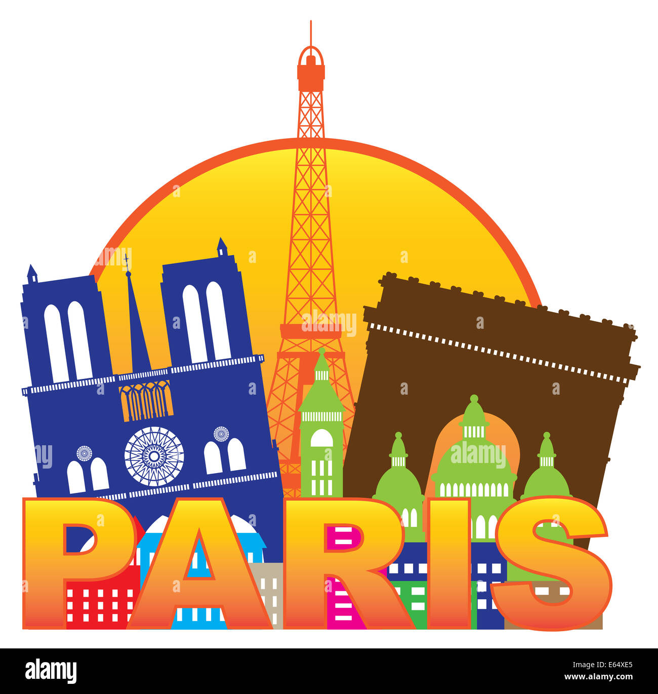 Paris France City Skyline Outline Silhouette Color in Circle Isolated on White Background Panorama Illustration - Stock Image