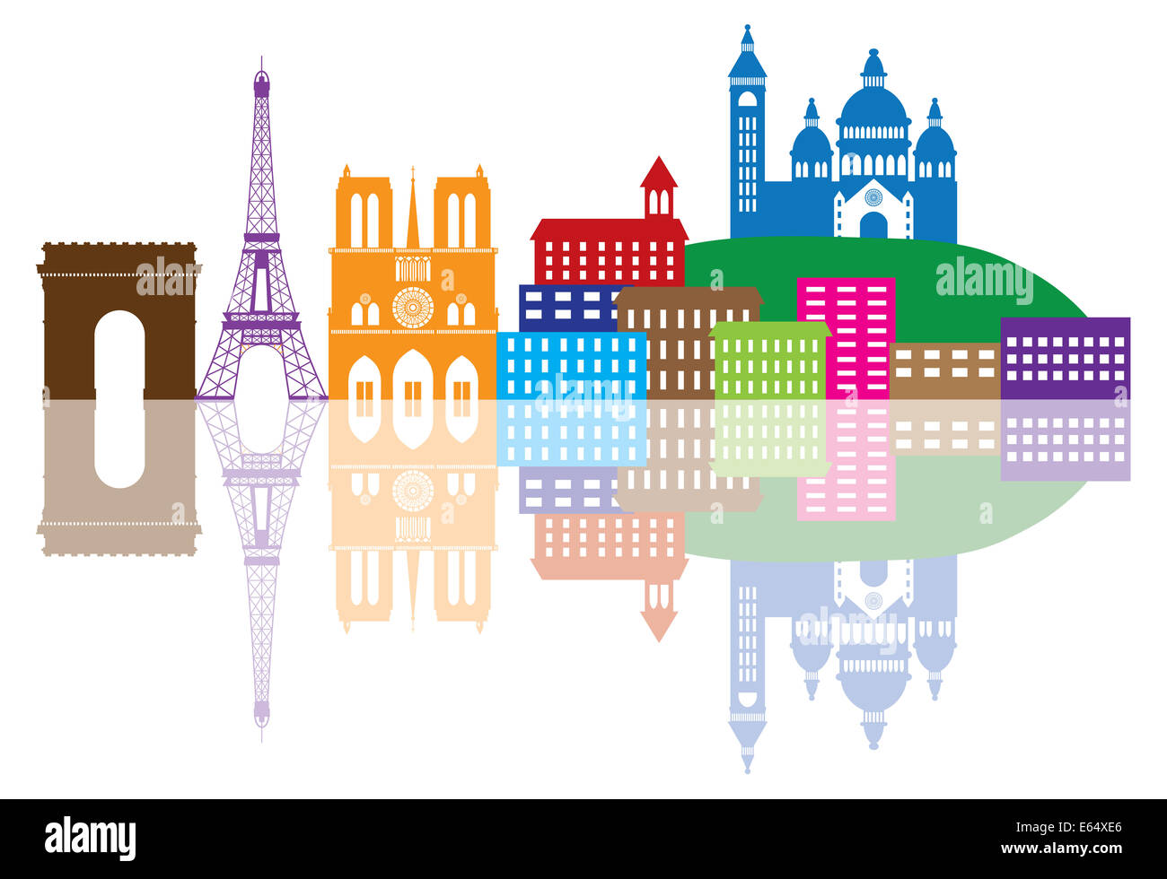 Paris France City Skyline Outline Silhouette Color with Reflection Isolated on White Background Panorama Illustration - Stock Image