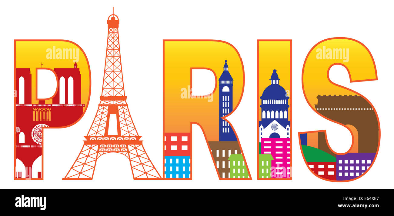 Paris France City Skyline Text Outline with Eiffel Tower Color with Reflection Isolated on White Background Panorama - Stock Image