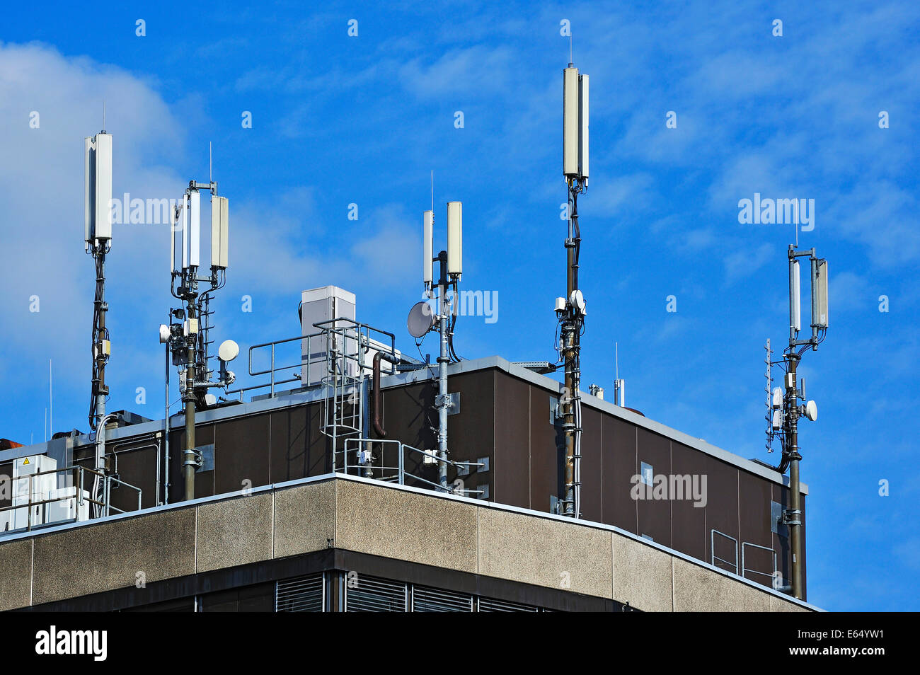 Various aerials on a building, Memmingen, Allgäu, Bavaria, Germany - Stock Image