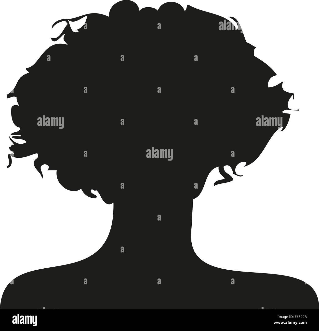 Silhouette Frau Locken lockig Scherenschnitt schwarz weiß Umriss frauen lang haare lange kurz Abbild Symbol Symbolik Stock Photo