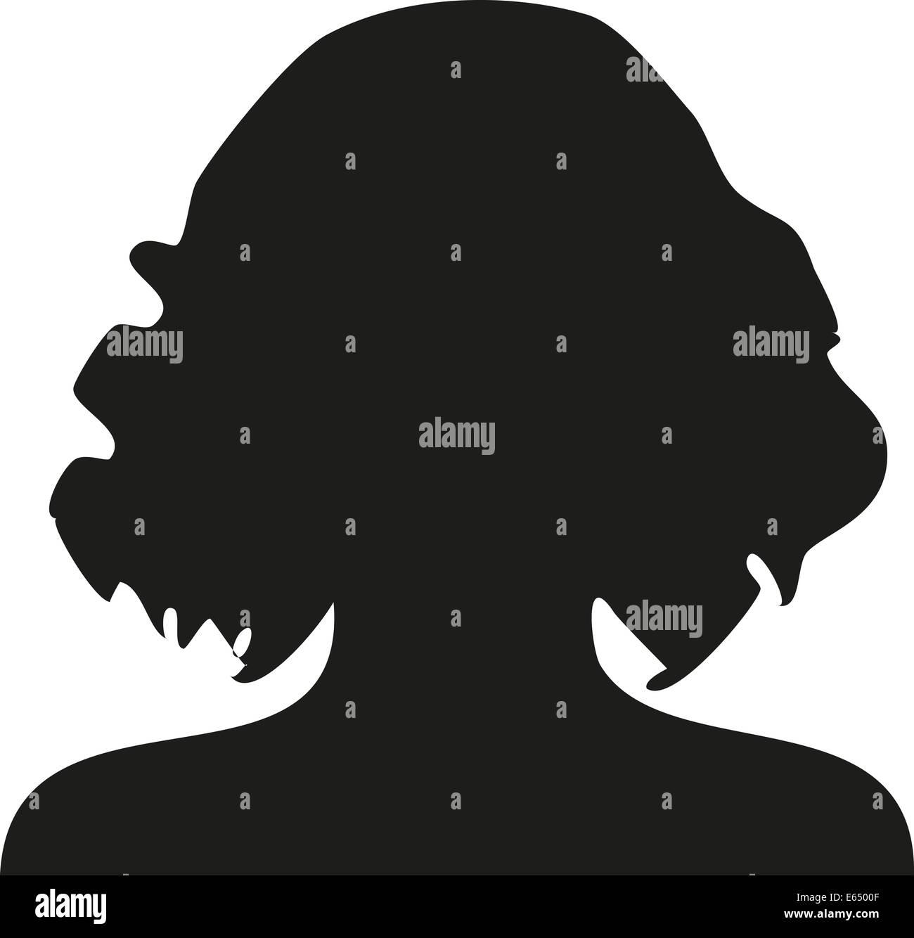 Silhouette Frau Scherenschnitt schwarz weiß Umriss frauen lang haare lange kurz Abbild Symbol Symbolik User - Stock Image