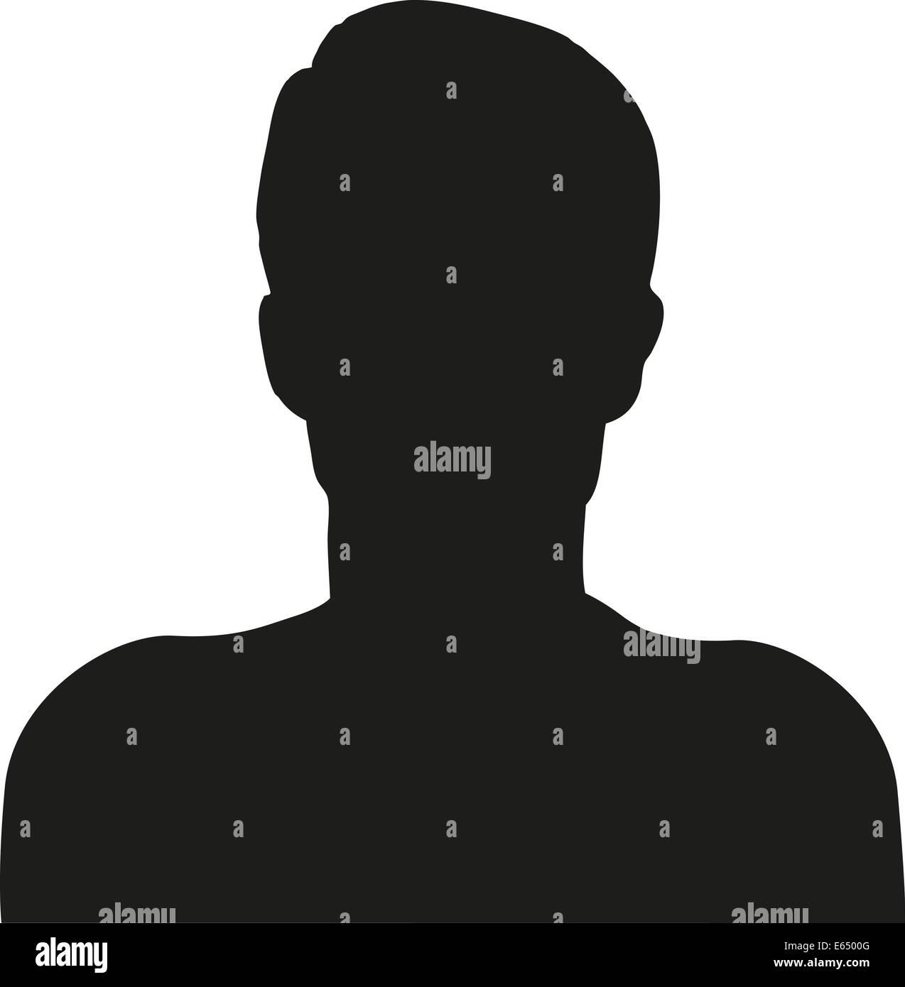 Silhouette Mann Scherenschnitt schwarz weiß Umriss Männer kurz Haare Abbild Symbol Symbolik User Userfoto - Stock Image