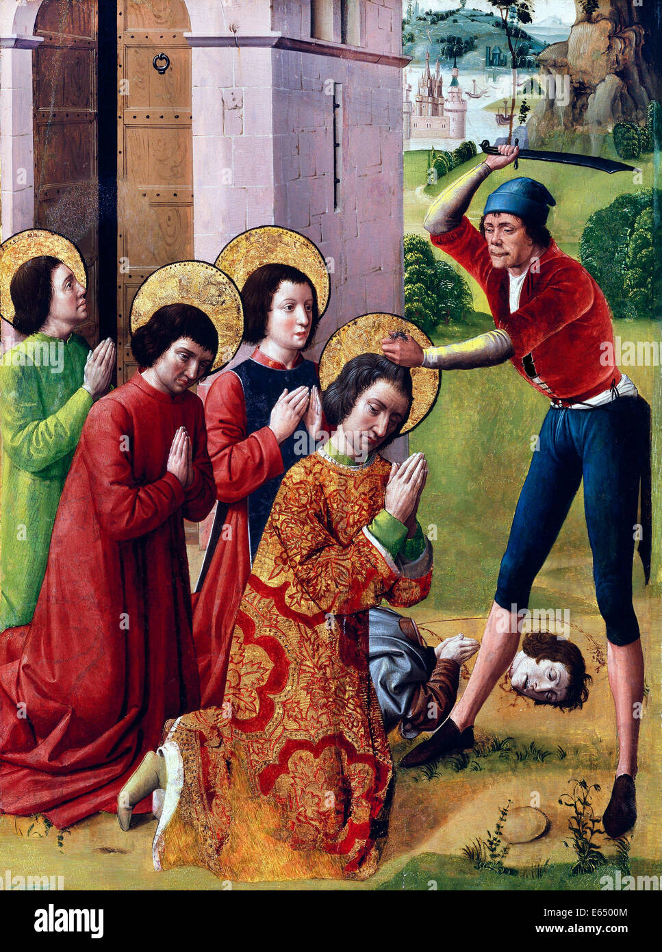 Monogrammist G.E.C., Martyrdom of Saints Cosmas and Damian with their Three Brothers, Part of an Altarpiece 1560 - Stock Image