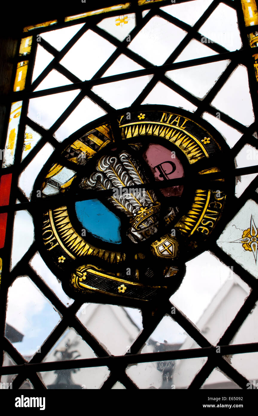 Stained glass fragments in The Guildhall, Leicester, UK - Stock Image