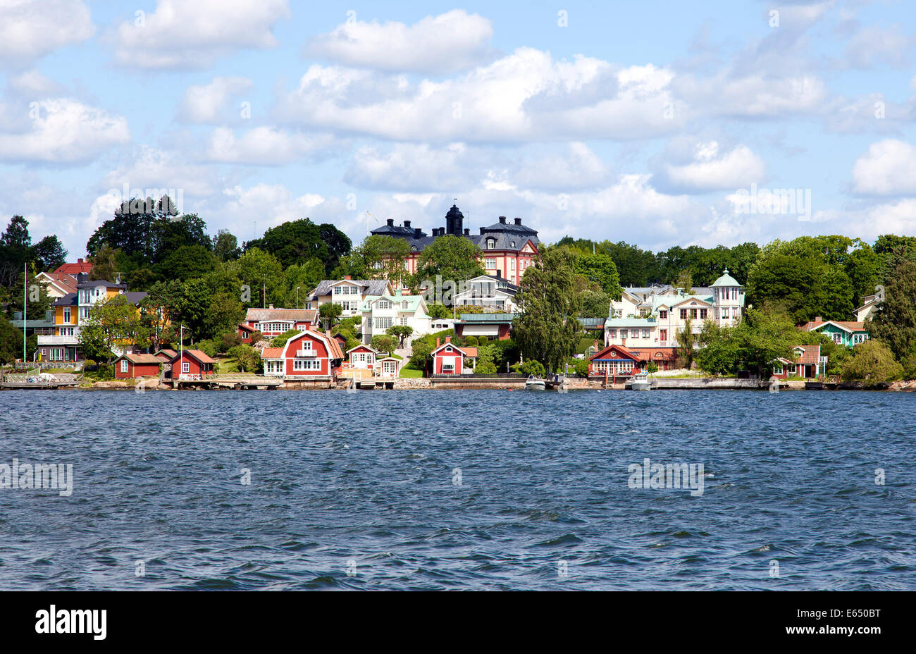 Wooden residential buildings, Vaxholm, Stockholm archipelago, Stockholm, Stockholm County, Sweden Stock Photo
