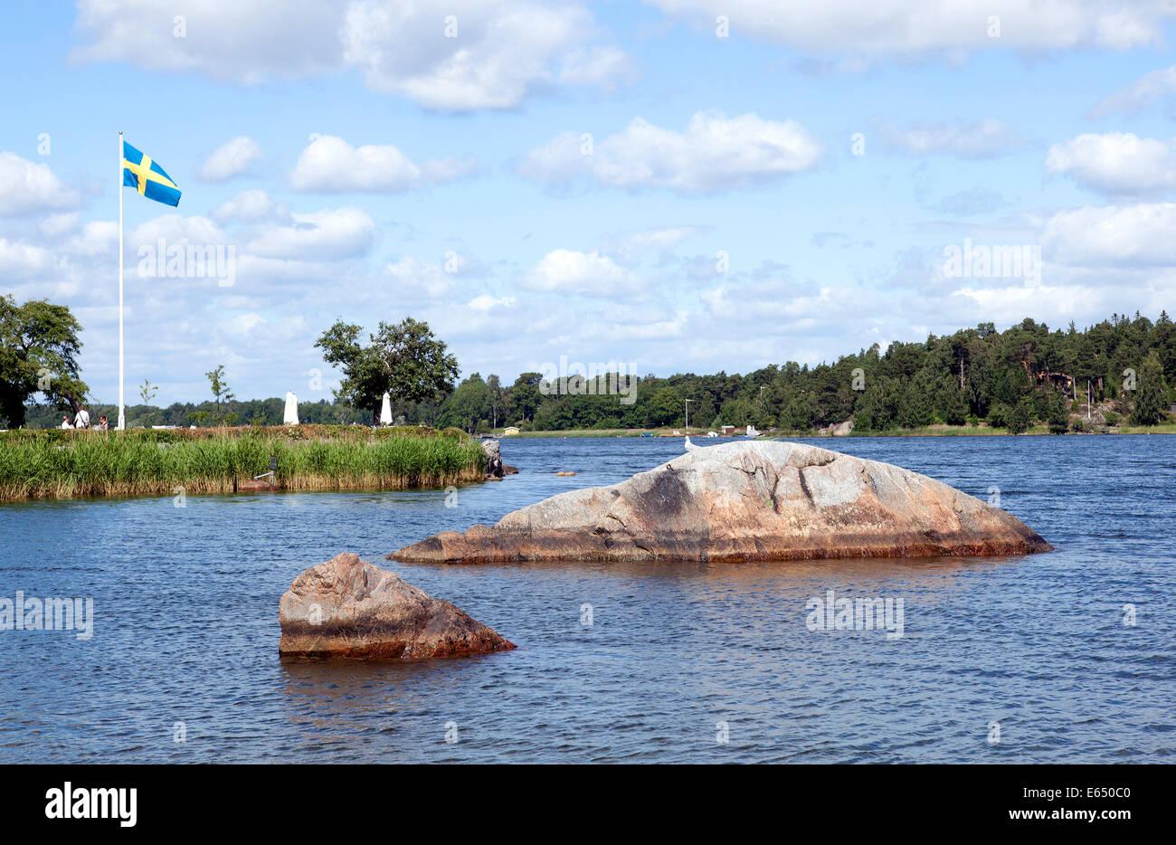 Landscape near Vaxholm, Stockholm archipelago, Stockholm, Stockholm County, Sweden - Stock Image