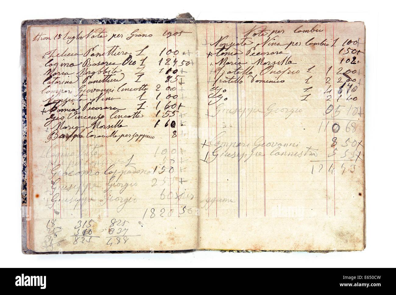 Historic debt register - Stock Image