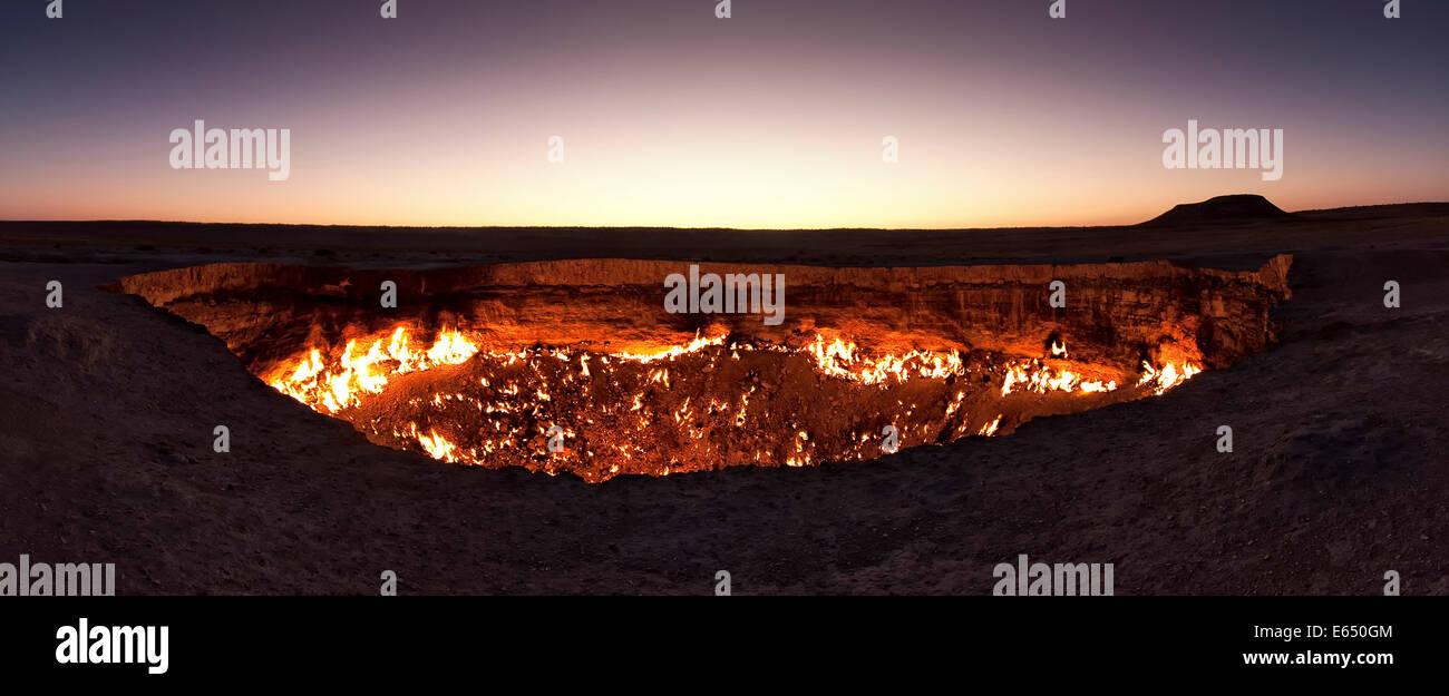 Fire crater gas crater  Door to Hell  Darvaza crater Derweze or Darvaza Karakum Desert Da?oguz Province Turkmenistan & Fire crater gas crater