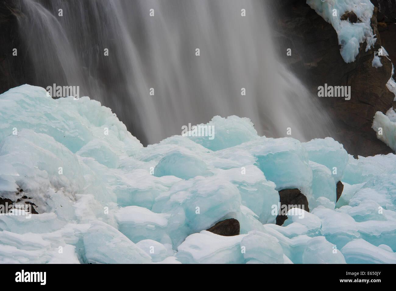 A waterfall in winter, Krimml Waterfalls, Krimml, Zell am See District, High Tauern National Park, Salzburg, Austria Stock Photo