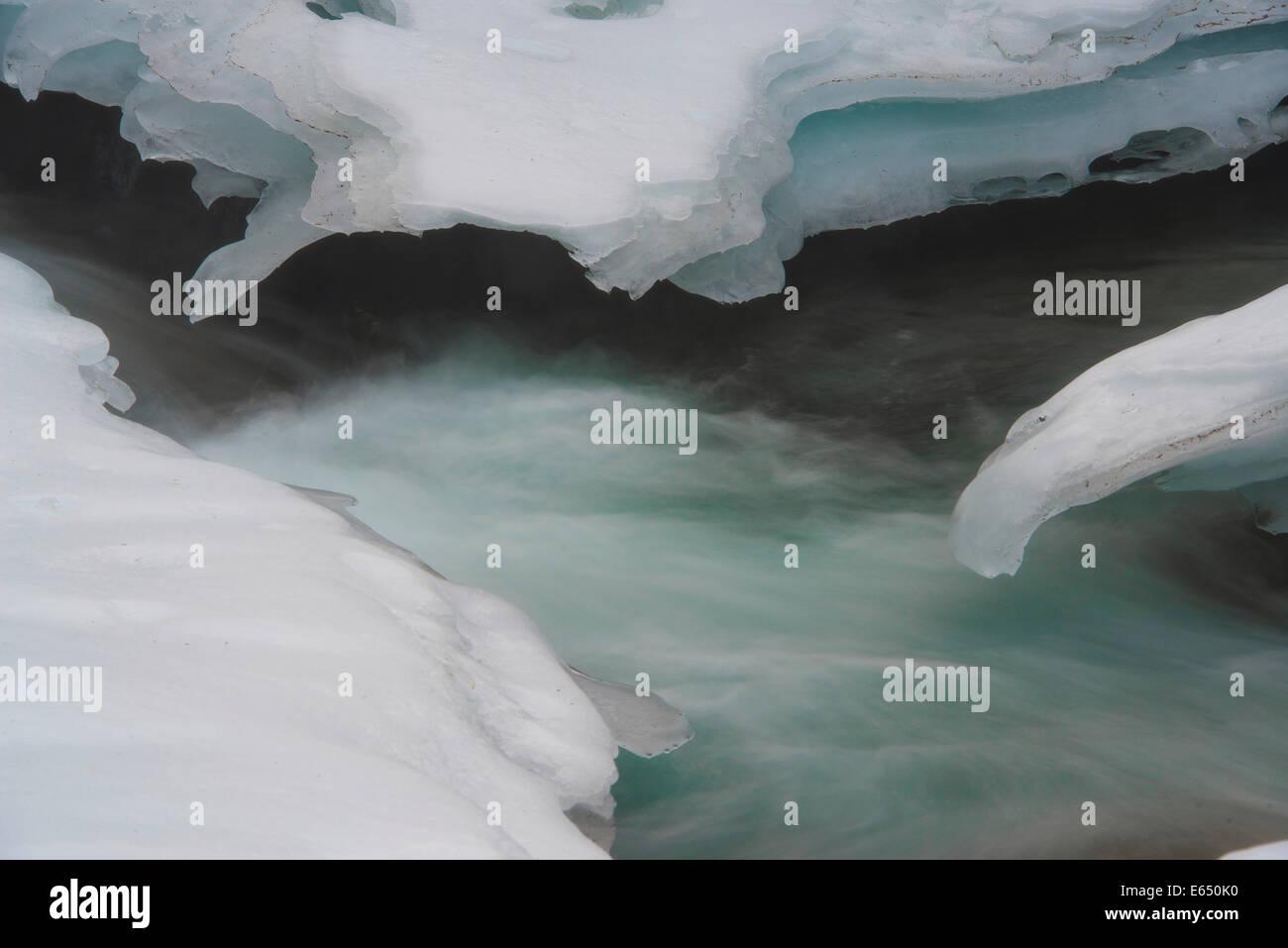 Ice sculptures, Krimml Waterfalls, Krimml, Zell am See District, High Tauern National Park, Salzburg, Austria Stock Photo