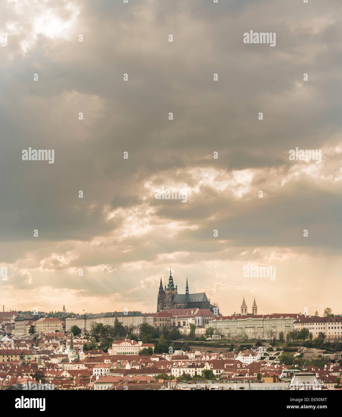 Prague Castle, St. Vitus Cathedral, Old Town Square, Old Town quarter, Prague, Czech Republic Stock Photo