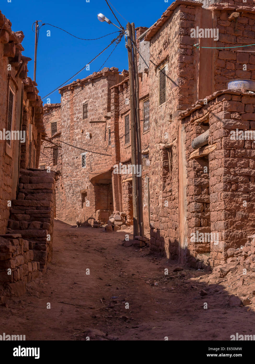 Anammer adobe village, Ourika Valley, Atlas Mountains, Marrakech-Tensift-Al Haouz, Morocco - Stock Image