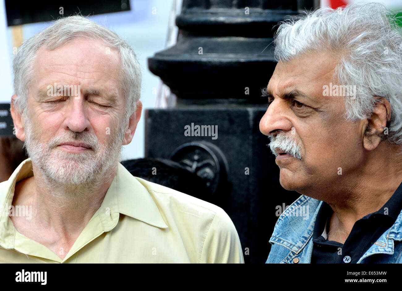 Jeremy Corbyn MP and Tariq Ali (writer and broadcaster)outside BBC Broadcasting House at the National Demonstration - Stock Image