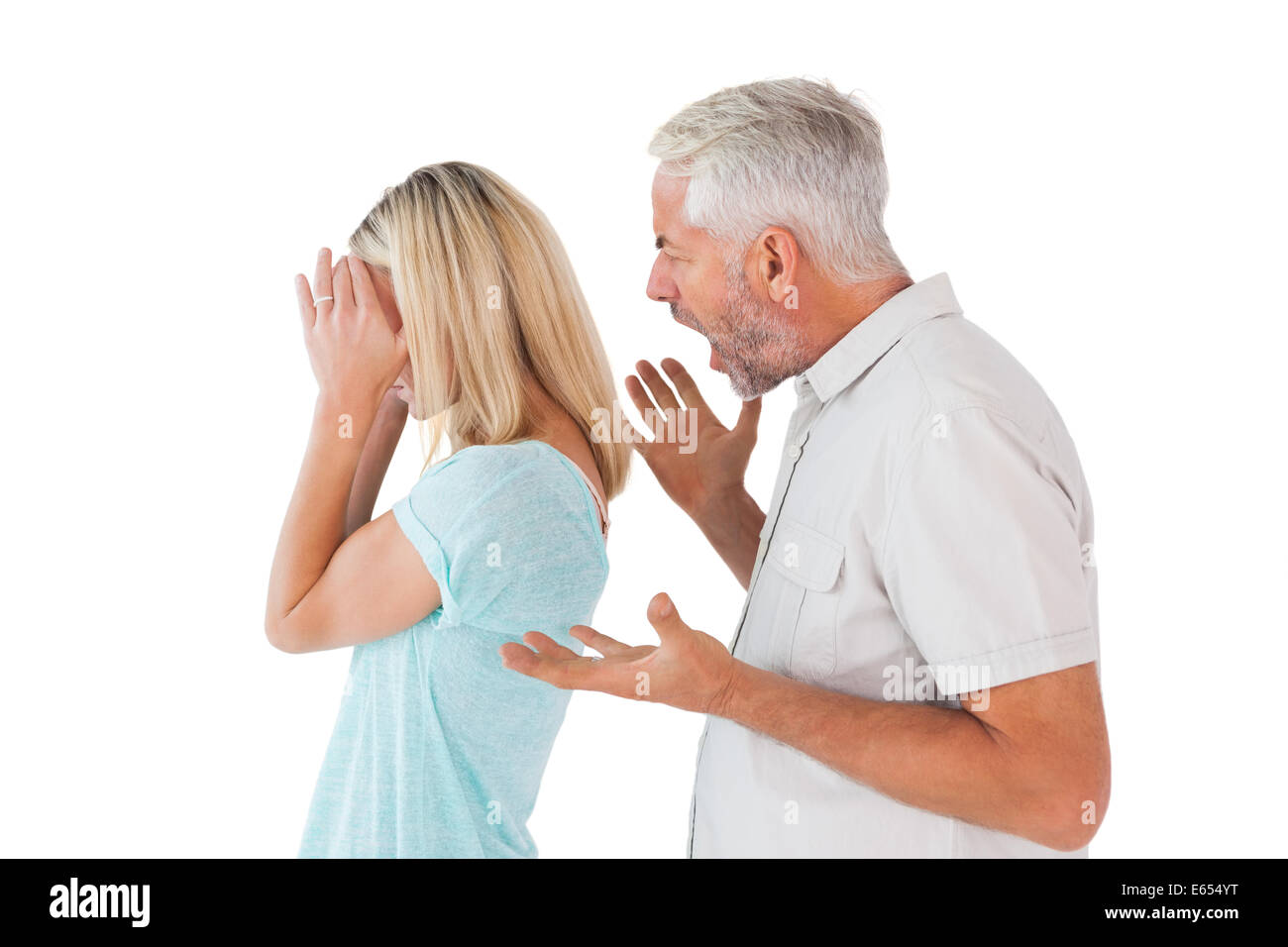 Angry man shouting at his wife - Stock Image