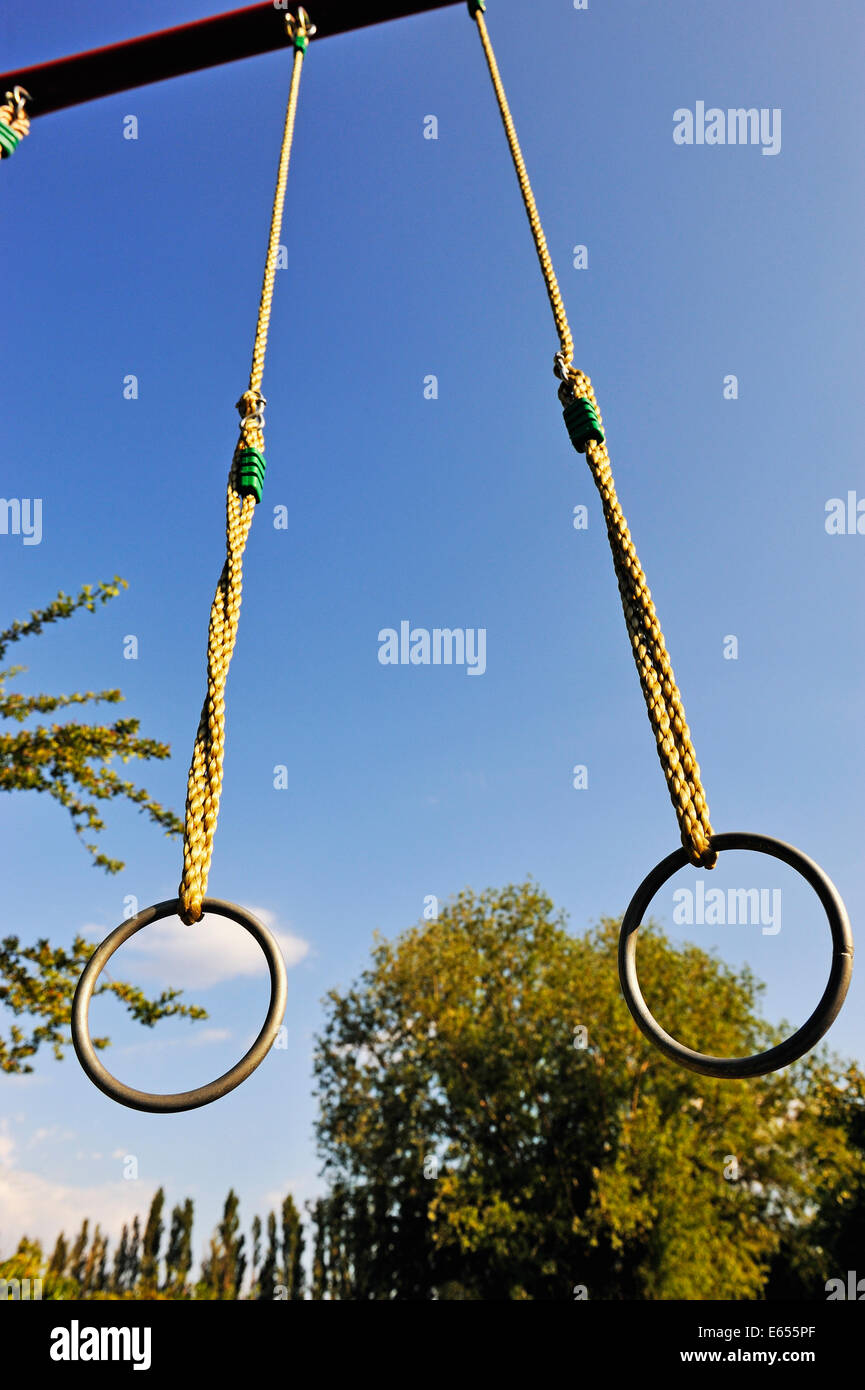 Gymnastic rings outdoors - Stock Image