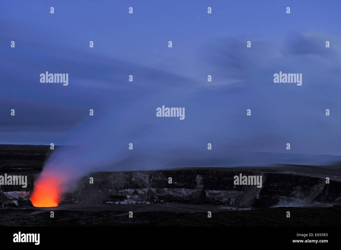 Halemaumau crater erupting, by night, Kilauea Volcano, Big Island, Hawaii Islands, USA - Stock Image