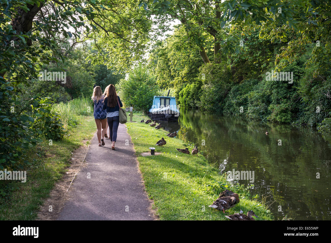People walking along Castle Mill Canal, Oxford, England, UK - Stock Image