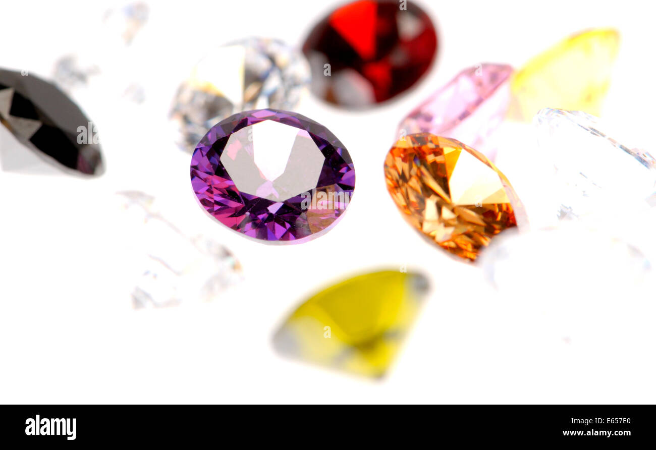 Jewels,various colours, round-cut - Stock Image