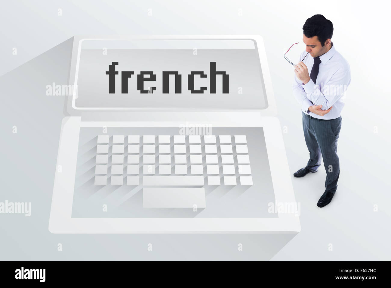 The word french and unsmiling businessman - Stock Image