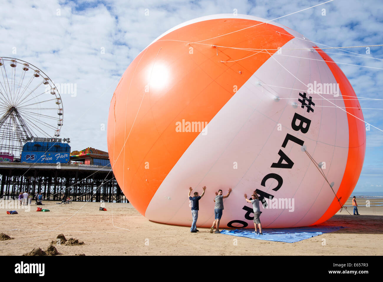 Blackpool now holds the Guiness World Record for the biggest beach ball in history. The seaside resort had it's Stock Photo