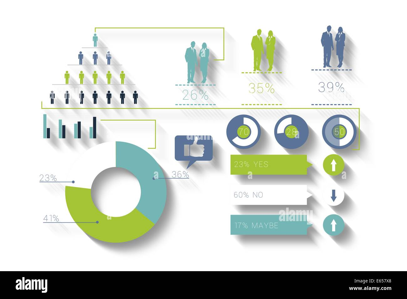 Digitally generated blue and green business infographic - Stock Image