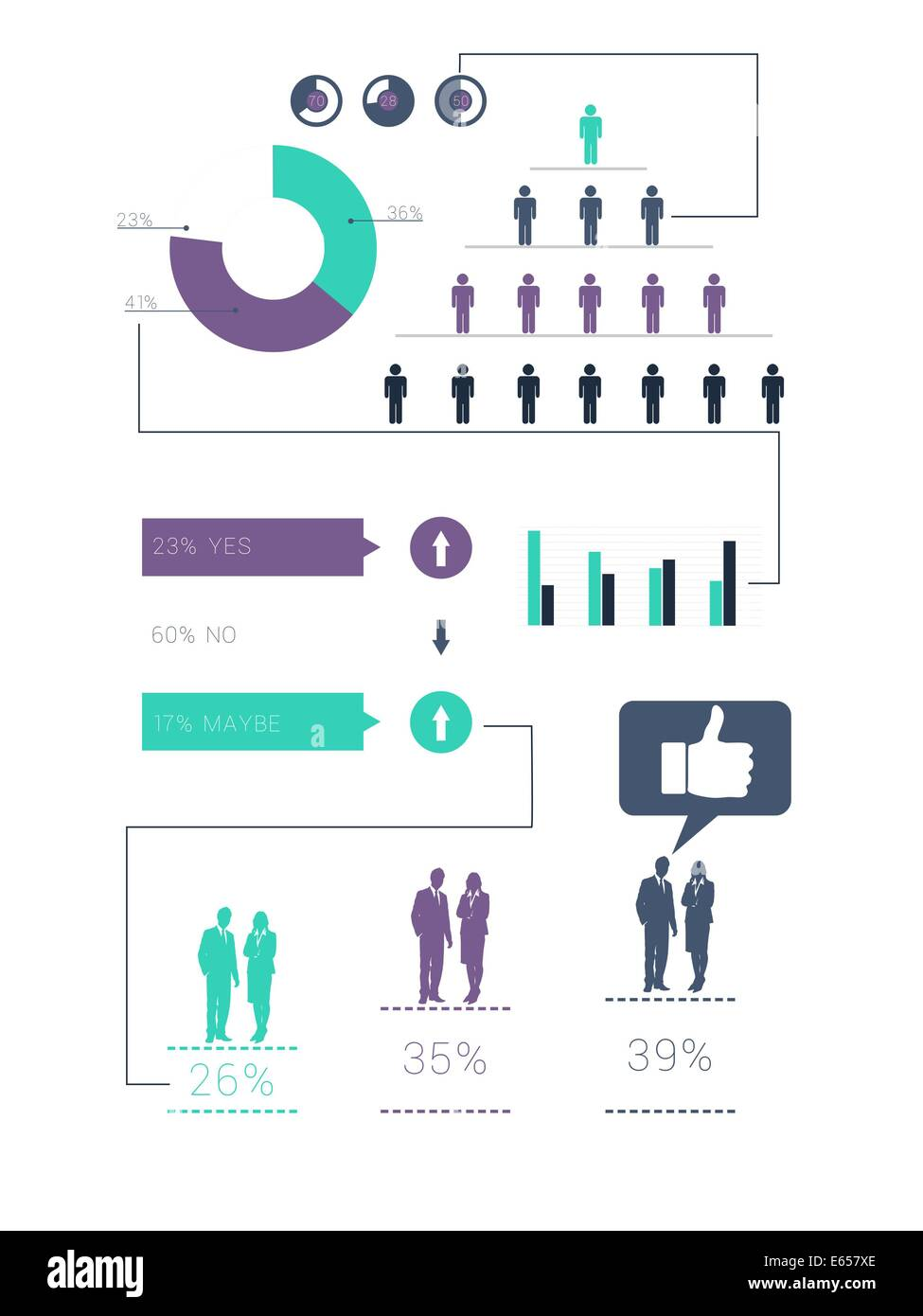 Digitally generated green and purple business infographic - Stock Image