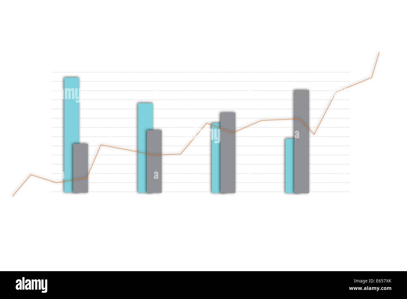 Digitally generated Bar chart analysis - Stock Image