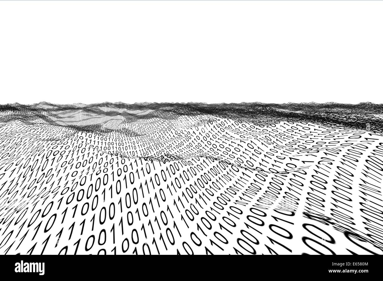 Digitally generated binary code landscape - Stock Image