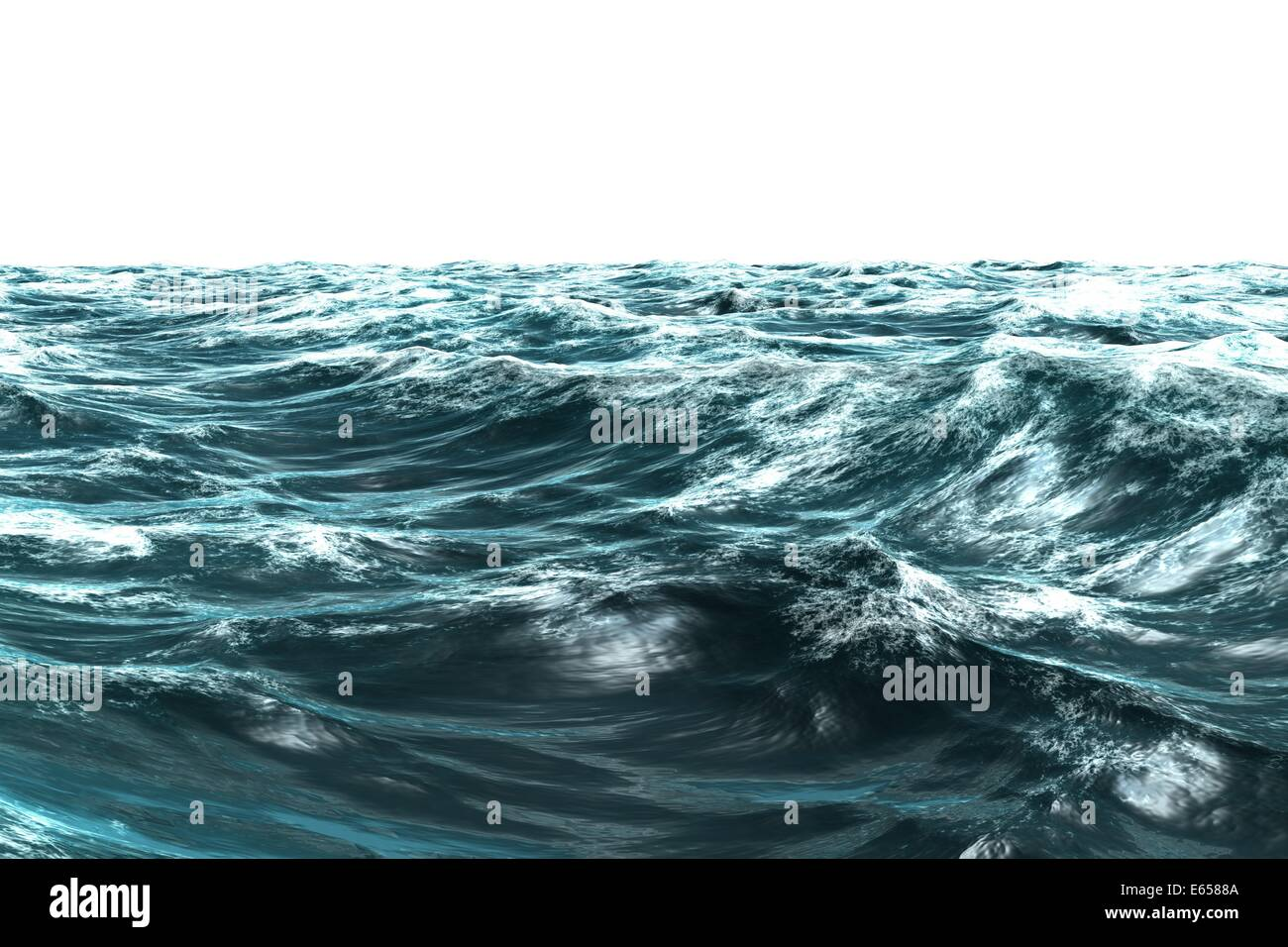 Digitally generated stormy blue sea - Stock Image