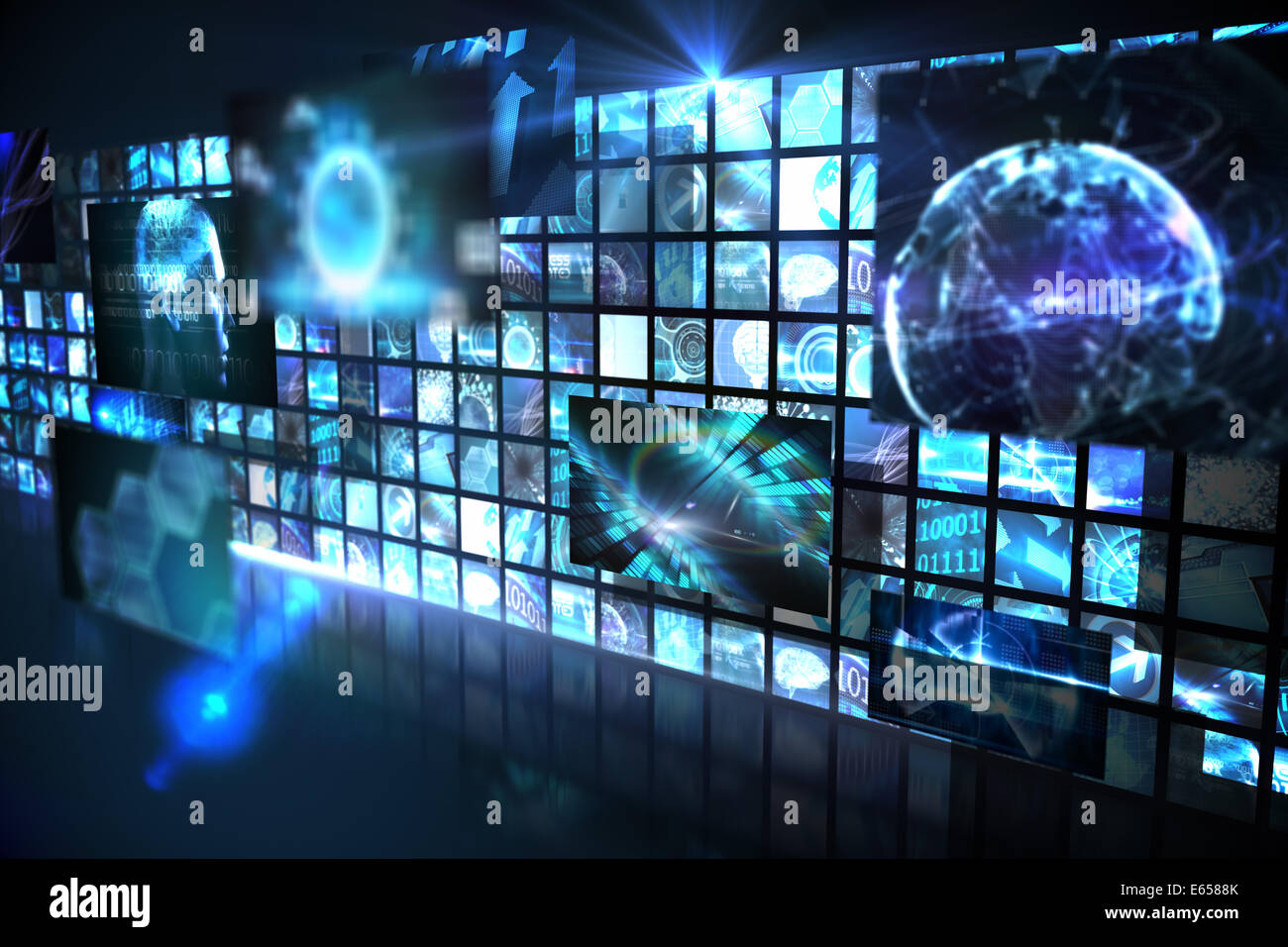Wall of digital screens in blue - Stock Image