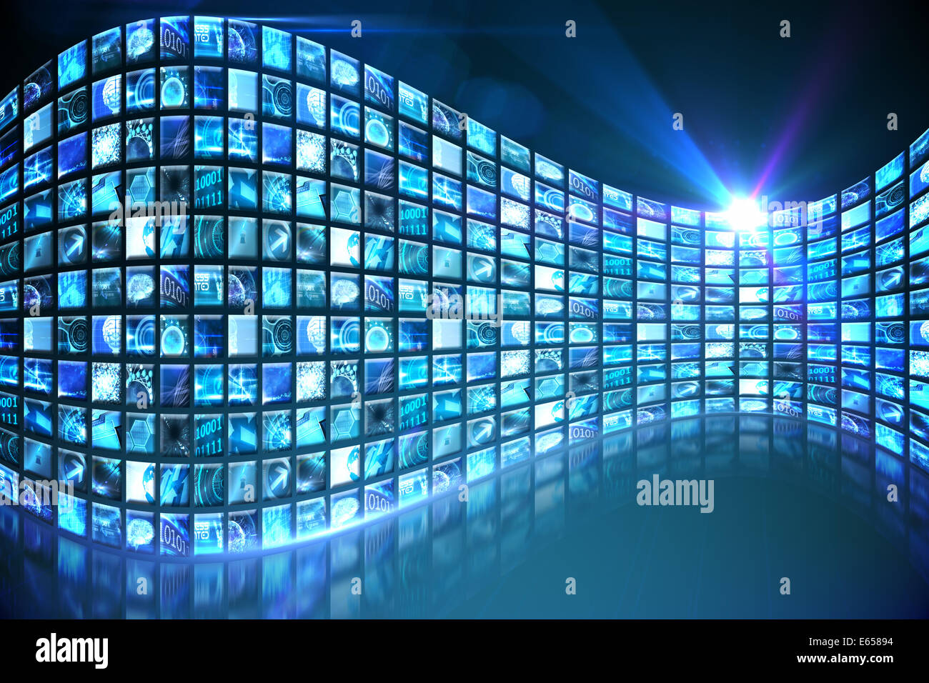 Curve of digital screens in blue - Stock Image