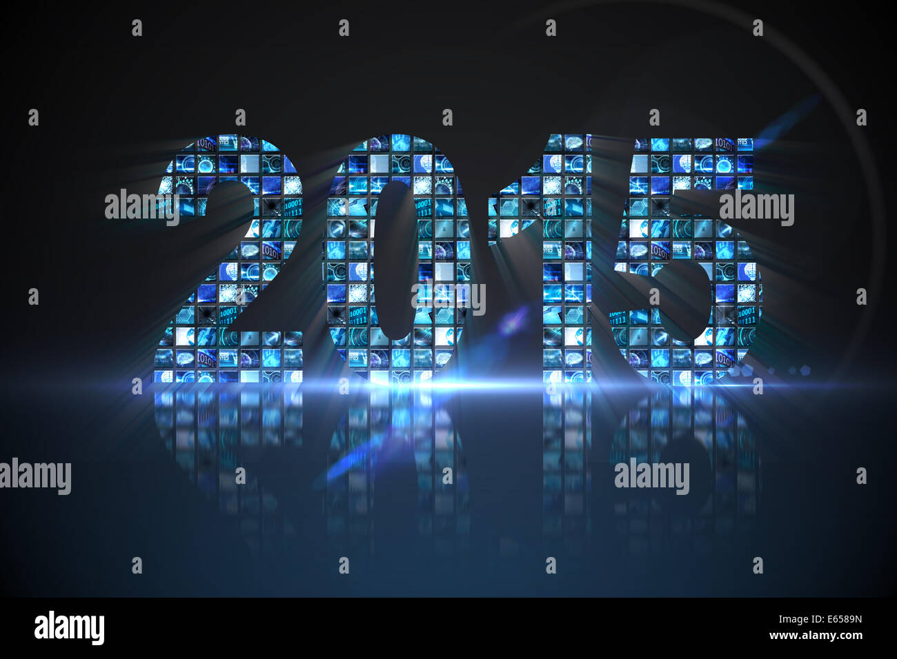 2015 made of digital screens in blue - Stock Image