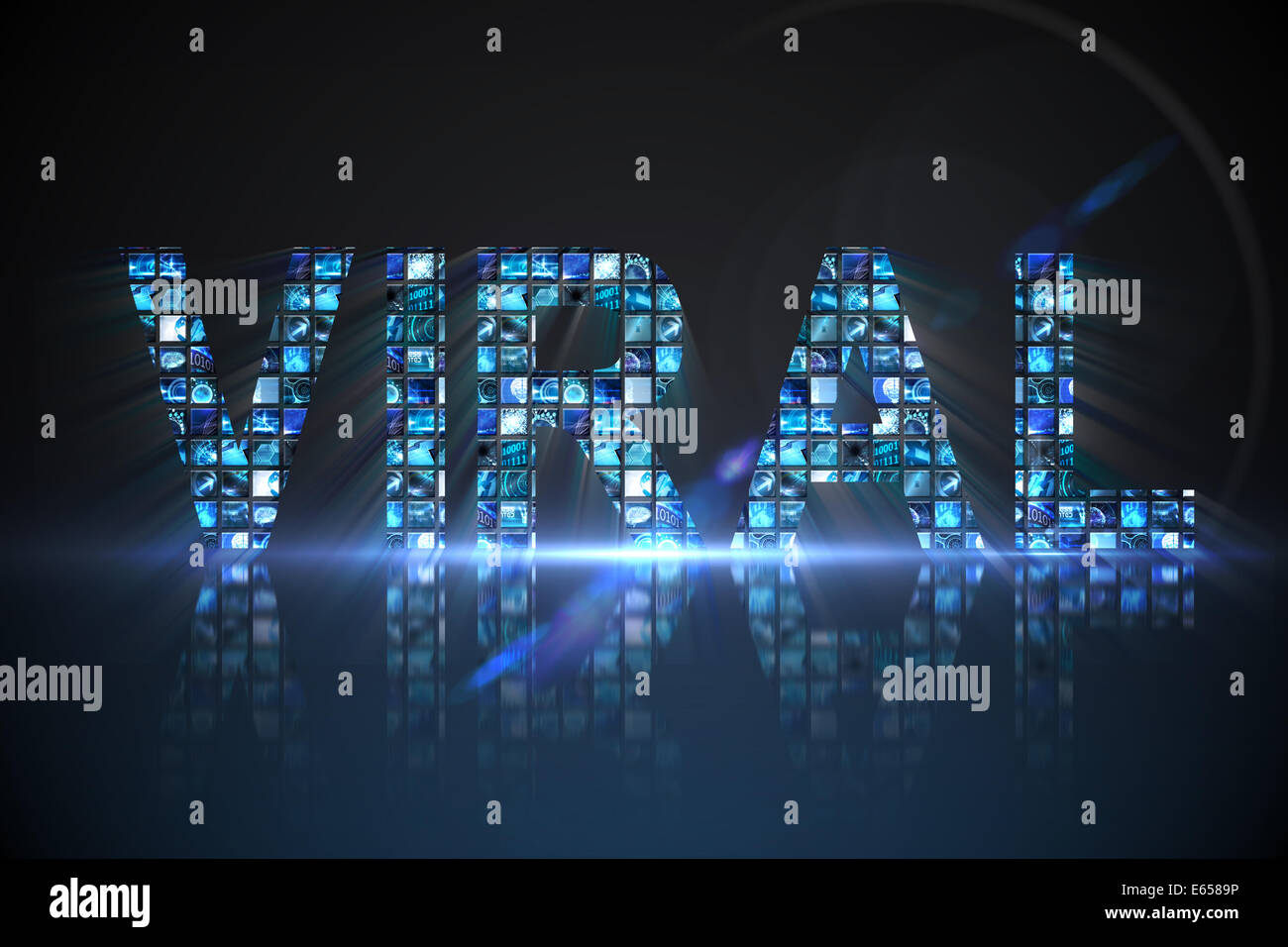Viral made of digital screens in blue - Stock Image
