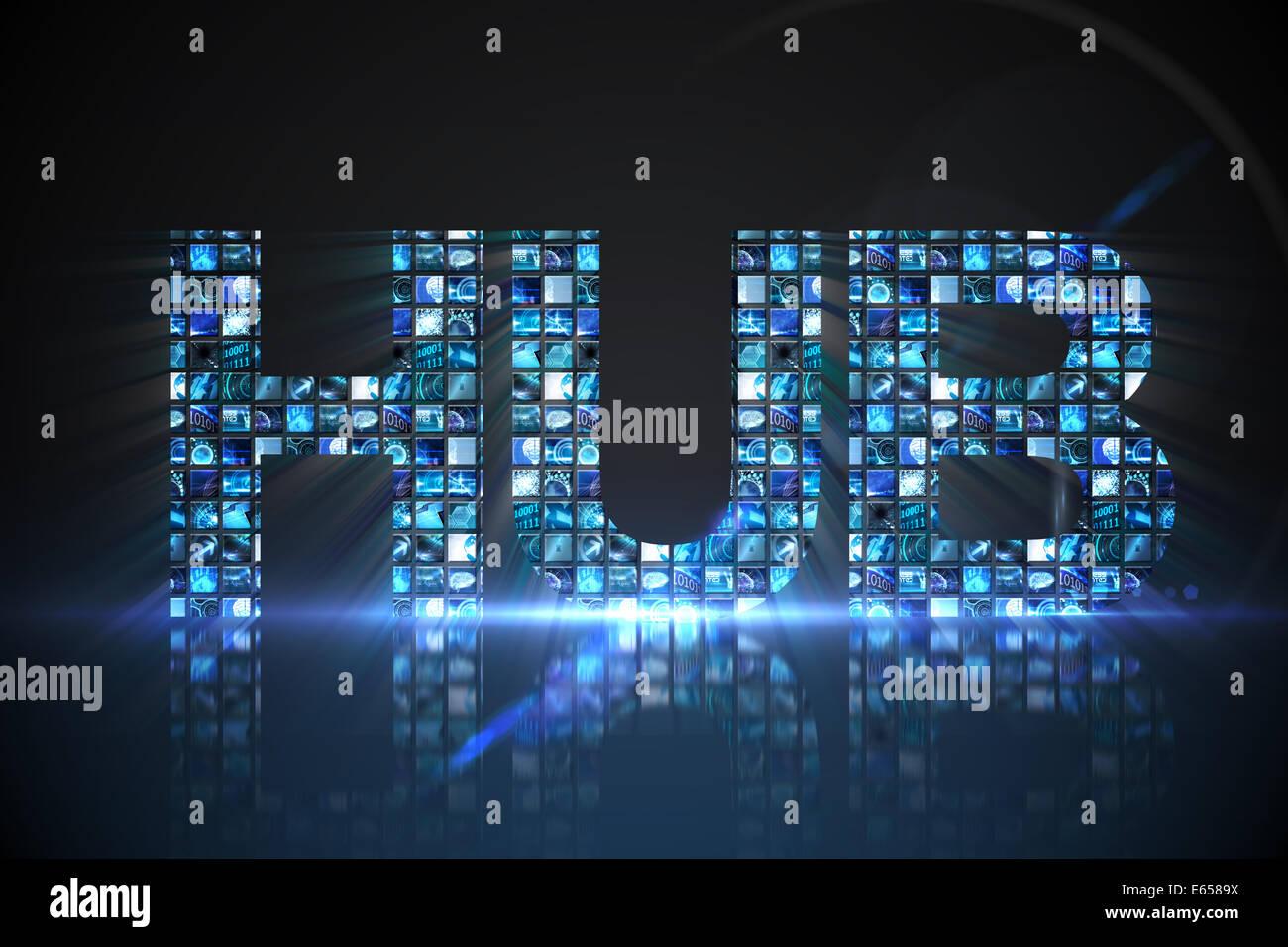 Hub made of digital screens in blue - Stock Image