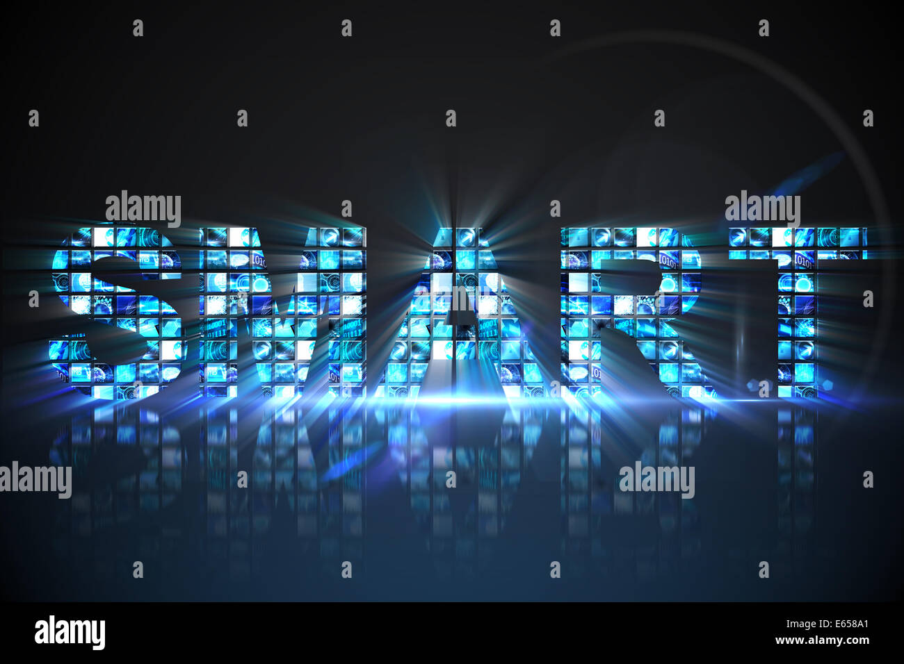 Smart made of digital screens in blue - Stock Image