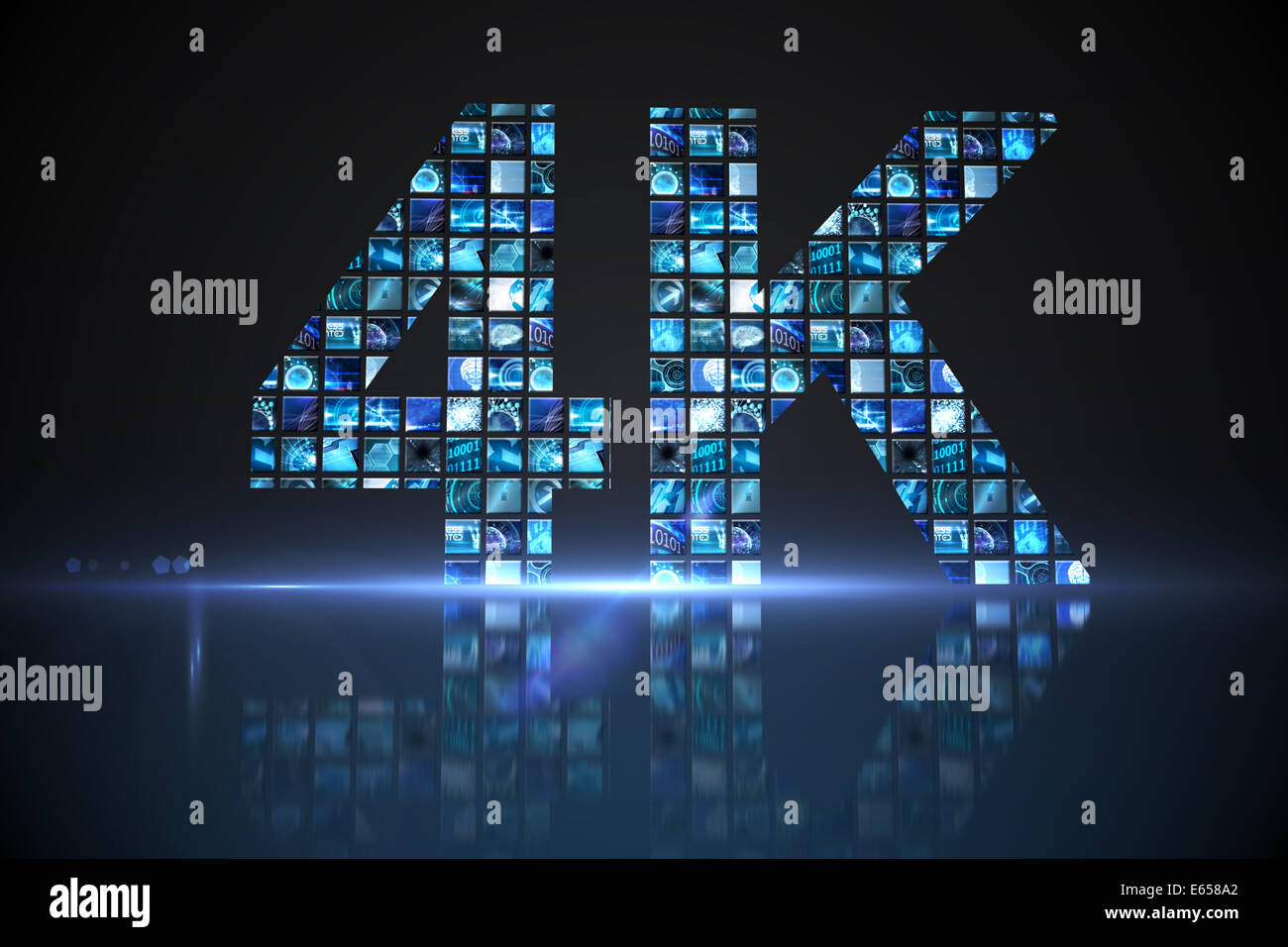 4k made of digital screens in blue - Stock Image