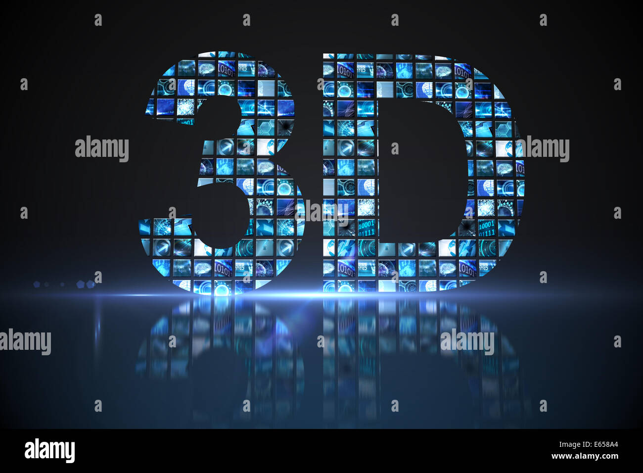 3D made of digital screens in blue - Stock Image