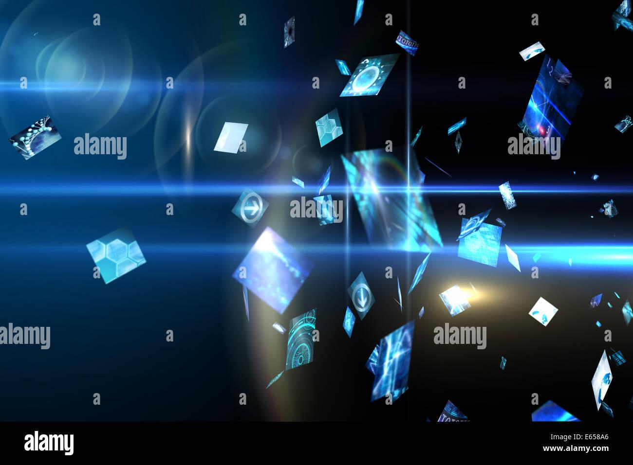 Floating digital screens in blue - Stock Image