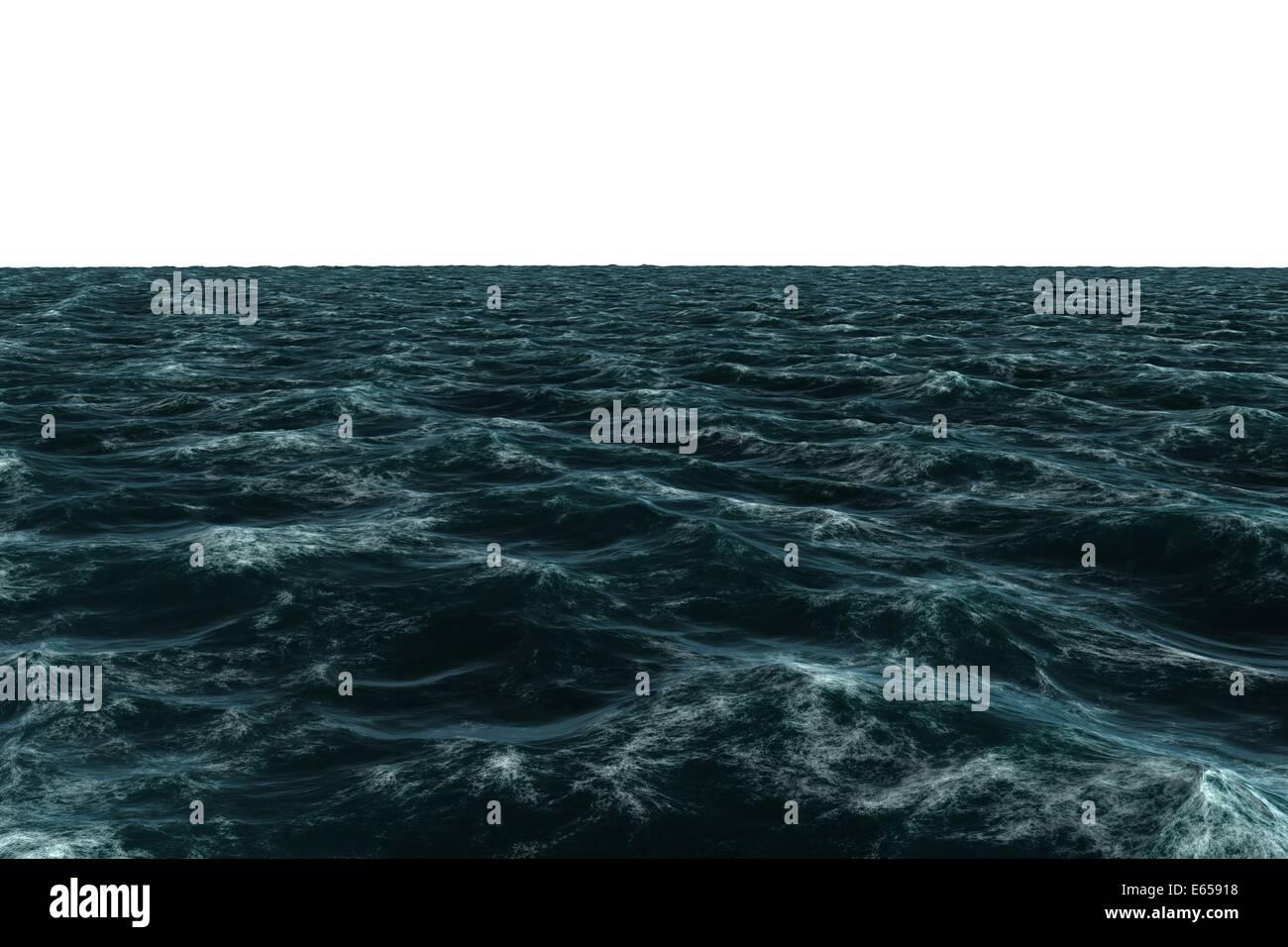 Digitally generated Rough blue sea - Stock Image
