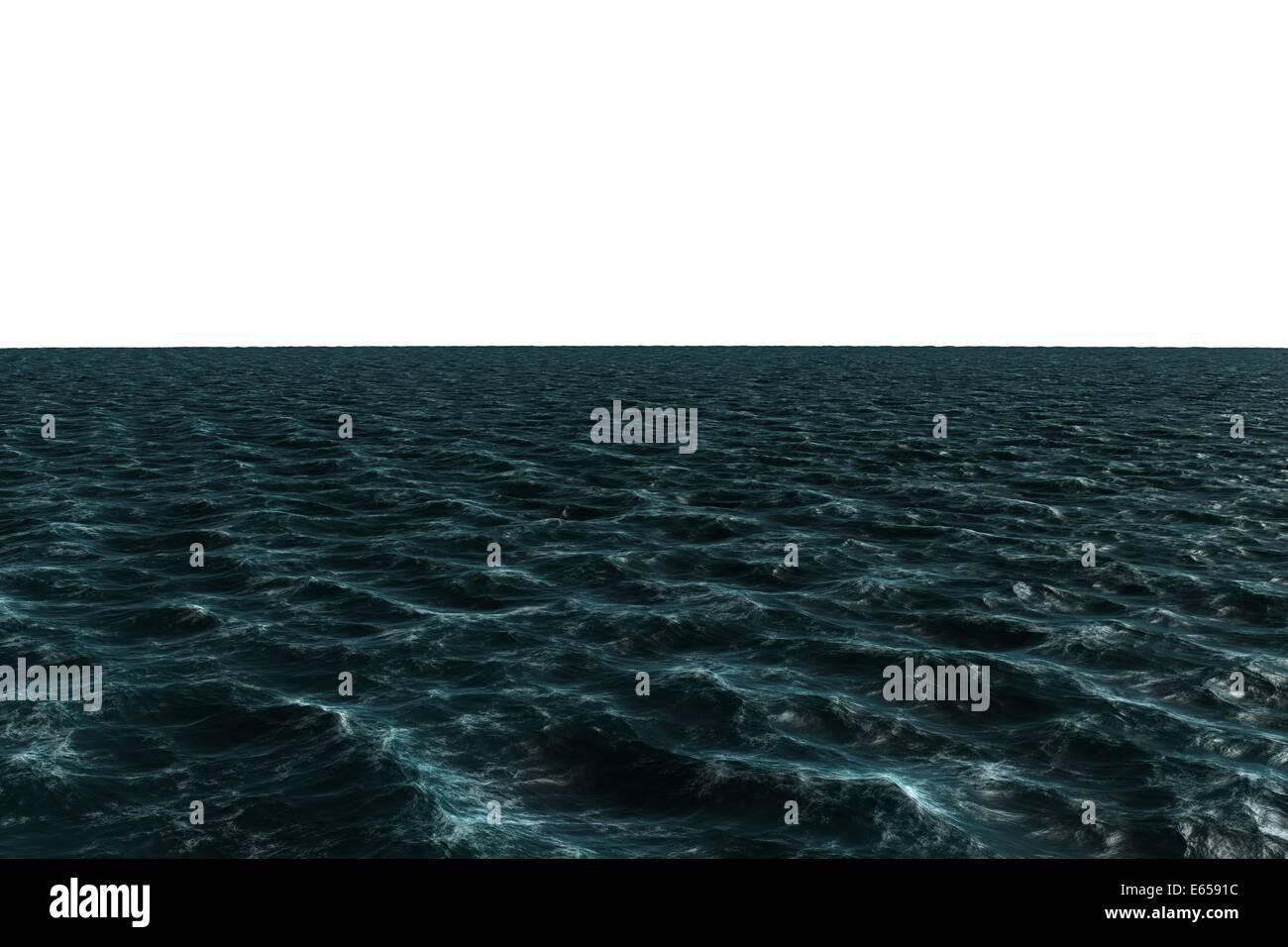 Digitally generated choppy Blue ocean - Stock Image