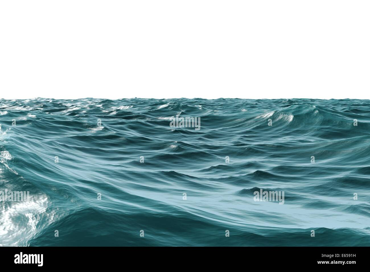Digitally generated Rough blue ocean - Stock Image