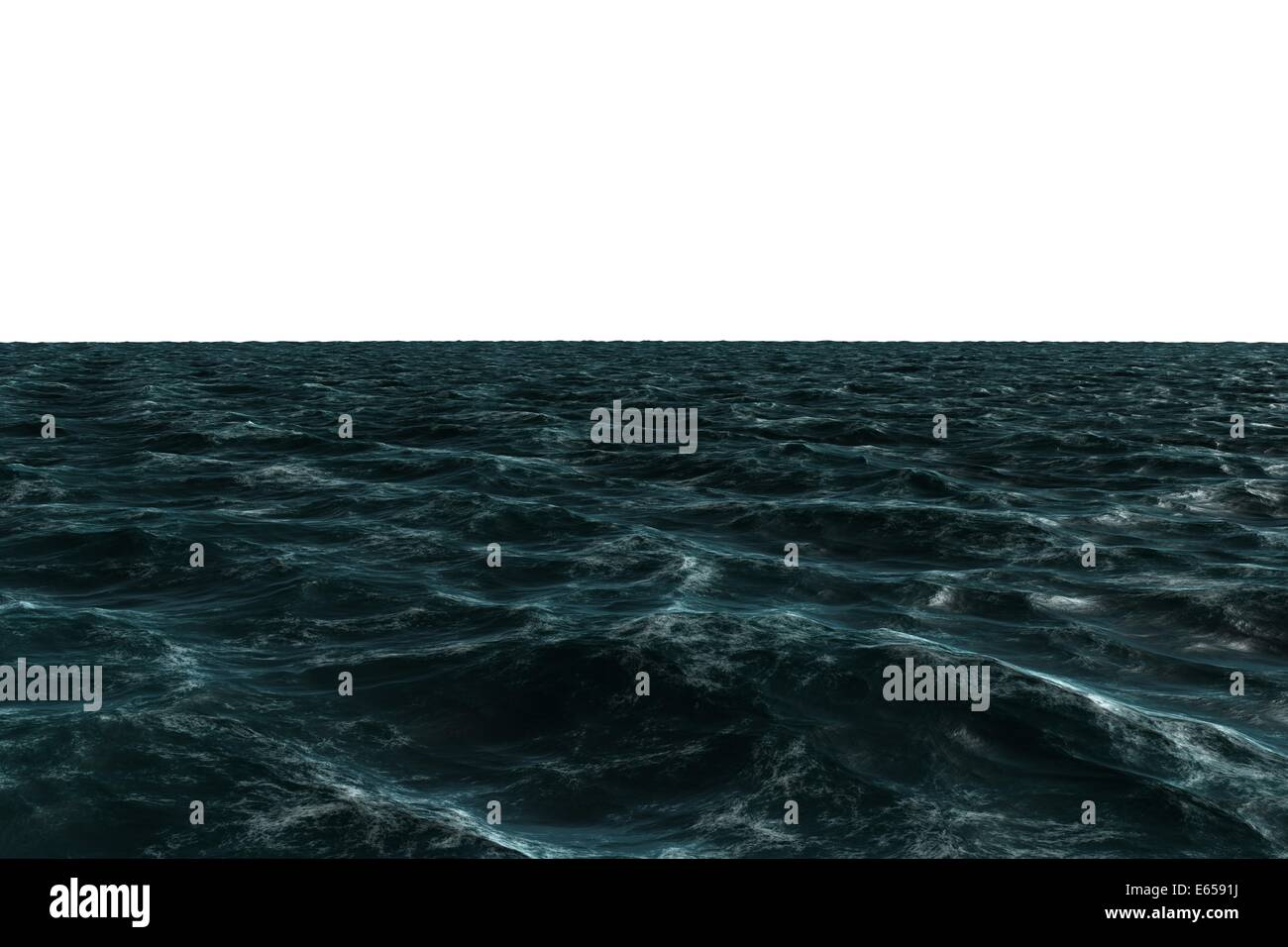 Digitally generated Rough blue ocean - Stock Image