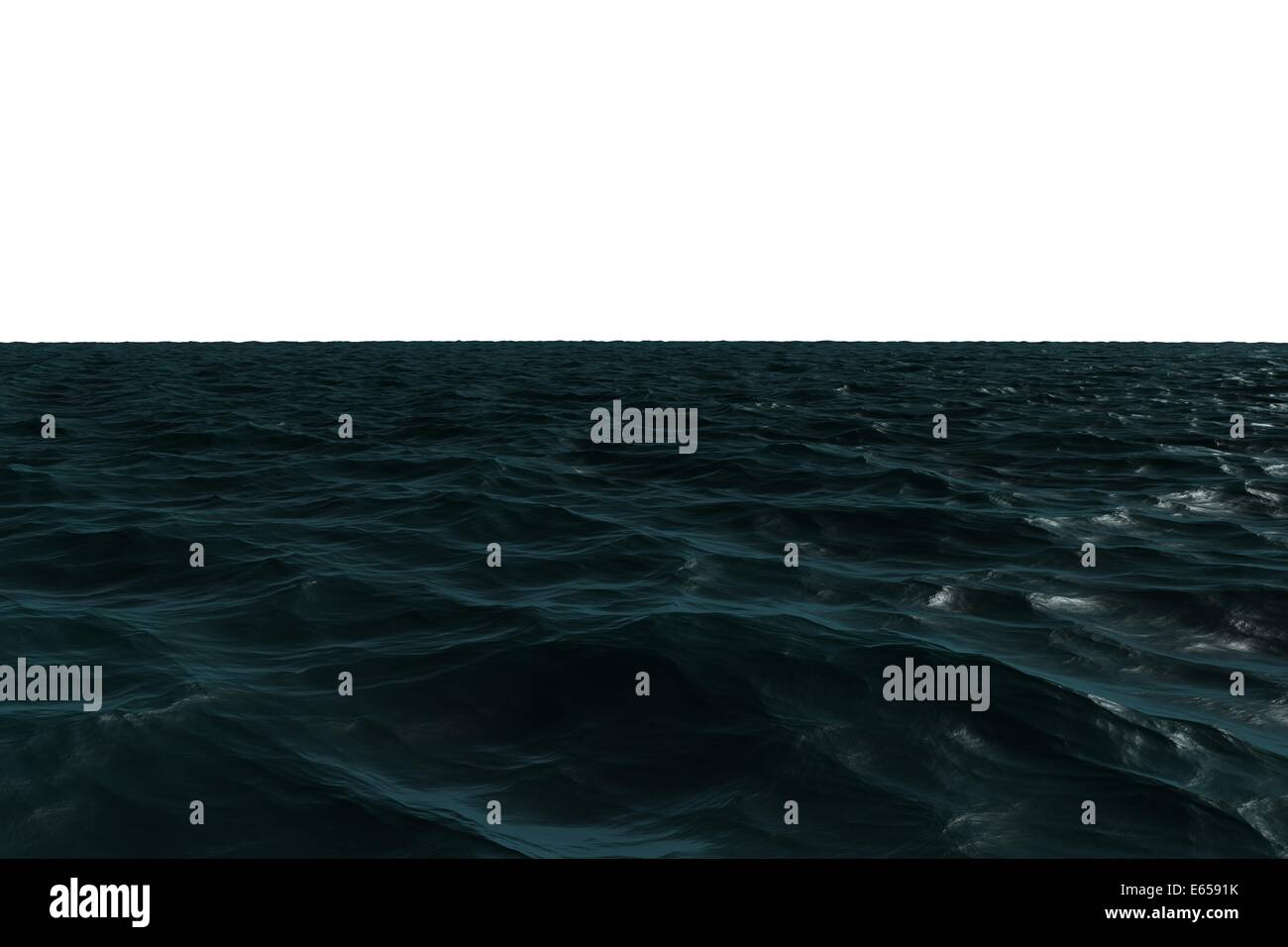 Digitally generated Dark blue ocean - Stock Image