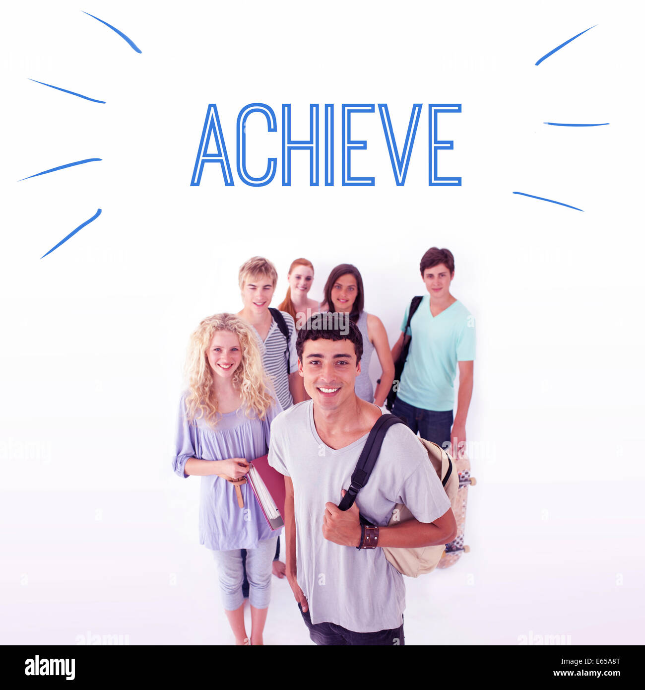 Achieve against smiling students - Stock Image