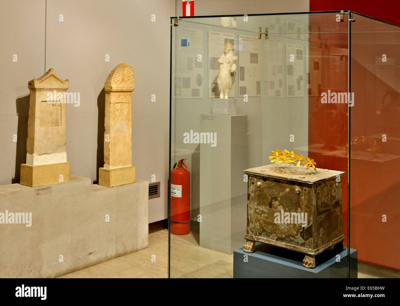 A sirver ossuary containing a golden wreath of olive leaves,Archaeological Museum of Amphipolis, Serres, Macedonia, - Stock Image